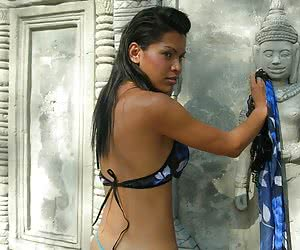 Gorgeous asian shemale with huge tits stripping outside