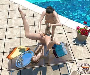 Slutty mature lesbians making out poolside