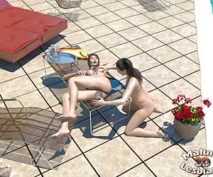 Two mature lesbians having sex in the open air