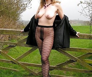 Seductive amateurs in their pantyhose outdoors