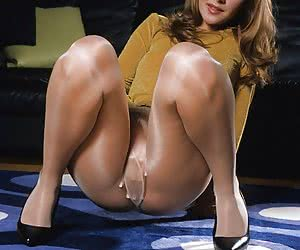 Sexy woman in glossy tan pantyhose