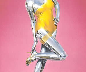 Erotic robot woman shows off her hot metallic body