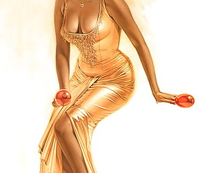 Passionate blonde lady poses in sexy golden dress