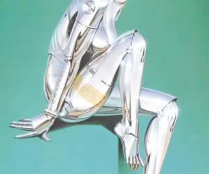 Robot woman in silver jacket shows her metallic body