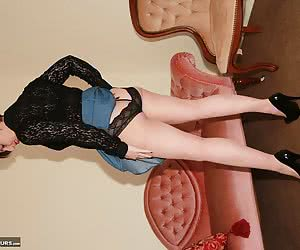 Casually dressed, the mood takes me to do a slow striptease, off comes my blouse to reveal my lacy bra and a quick bend