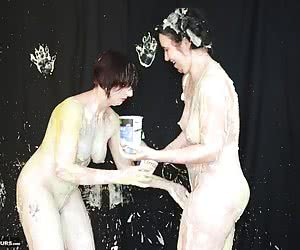 Myself and a girlfriend had a disagreement so the best way to settle it was to have a messy food fight. Watch as we slow