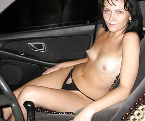 Semi-nude housewives in their cars in the night
