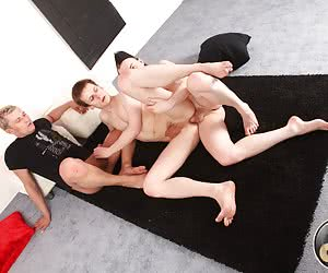That young gay's clean and shaved asshole gonna feel a tough gay double penetration.
