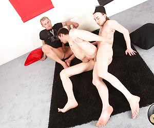 That young stud's shaved and clean ass wanna feel a real gay DP threesome sex.