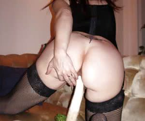 Enormously horny bitch fucks with a plant