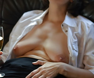 in the Secretaries outfit.And a glass of champagne in hand.Let me look under her skirt but smooth.And my tits are also i