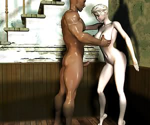 3D interracial cartoon