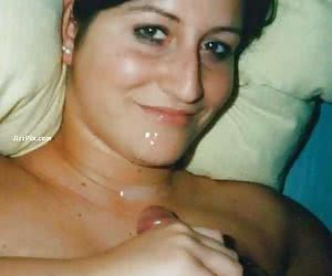 Real girlfriend eats cock and balls and gets facialized