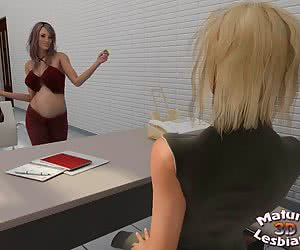 Mature lesbian boss and her pregnant visitor