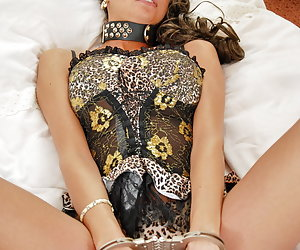 Jolee Jordan, big tits young whore dressed in sexy lingerie likes to play with handcuffs.