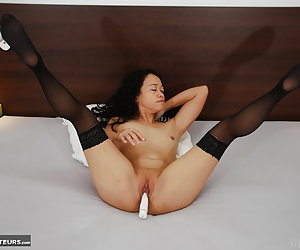 Kimberley, professional Filipino whore and porn model full nude vibrator play at her brothel room.