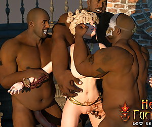 Petite blonde get fucked by different black guys