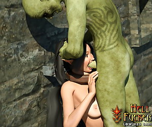 Sexy elf-cocksucker with sexy breasts sucking an orc and his load
