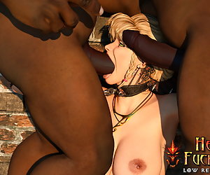 Sweet elven slave gets thick black dicks stuffed down her throat