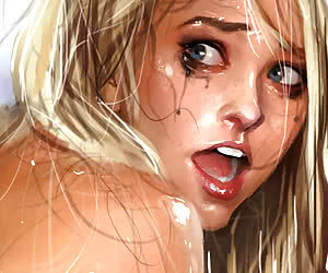 Young chick getting her wet holes stretched open on very realistic porn comics