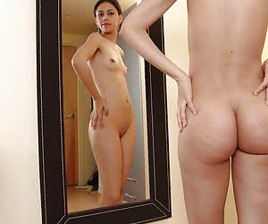 Turned on by her mirror reflection