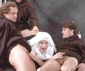 3 monks doing a nun