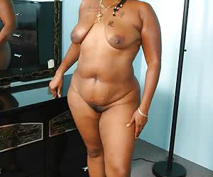 Naked ebony babe with a big fat flesh