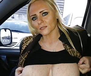 Blondie busting out of her tight tops