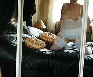 It was amazing shooting pics in this luxurious bedroom, and of course I am looking all innocent in white.