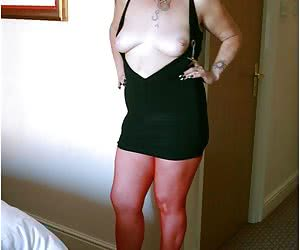 Red stockings and little black dress - what a combination