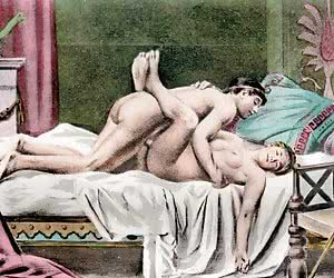 Beautiful and lusty threesome is precisely described by this retro porn drawing.