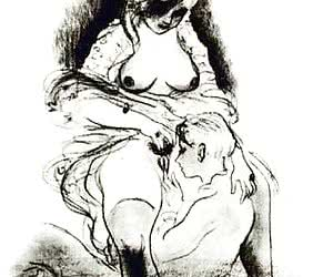 Beautiful female bodies and lusty cocks are in these retro porn drawings.