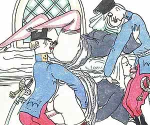 Funny jail porn and hot fuck is shown in these vintage porn cartoons.