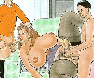 Huge and lusty BBW serves a hard fuck in a retro porn drawing.