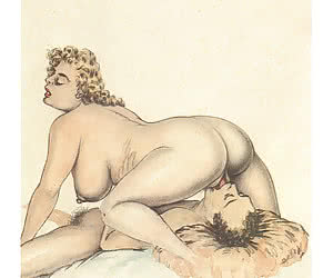 Retro porn drawing traditions still remain in a modern art.