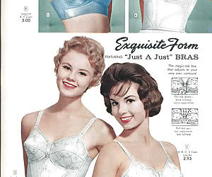 Beautiful ladies from magazine do their best while posing in retro lingerie and showing their beauty