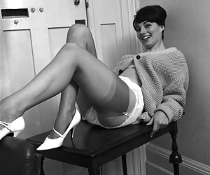 Cute gals show their bodies and especially long legs in their wonderful vintage lingerie