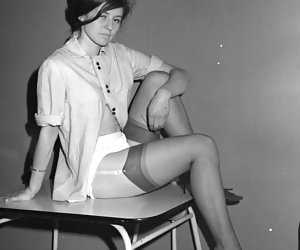 Once again cute chicks pose in retro lingerie so that to show their slim legs and neat bodies